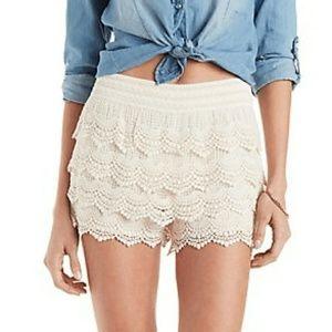 Charlotte Russe cream tiered crochet shorts